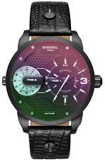Diesel DZ7405 Mini Daddy Unisex Uhr Armband Leder 2 Zeitzonen 46mm Schwarz Neu