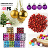 48PC 30mm Christmas Xmas Tree Ball Bauble Hanging Home Party Ornament Decor