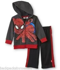 Marvel Spiderman Toddler Boy's 3T NeW Zip-up 3-D Effect Hoodie Jacket Sweatpants