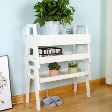 3Tier Ladder Bookshelf Storage Rack Display Shelving Unit Plant Shelf Solid Wood