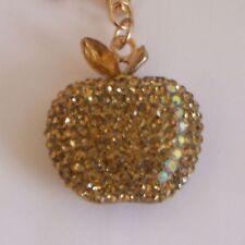 HANDBAG BUCKLE CHARMS ACCESSORIES GOLD CRYSTAL GOLDEN APPLE KEYRINGS KEY CHAIN