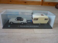 Mercedes Benz 280 SL Roadster 1:43 model car with period style caravan model