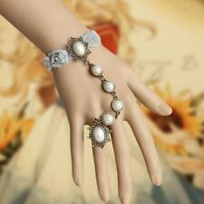 Women Gray Rose Lace Man-made Pearl Bracelet Ring sets Bridal Fashion Jewelry