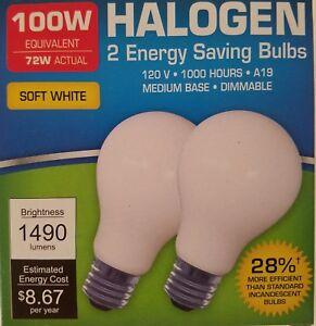 100-Watt Halogen Light Bulbs Soft White Standard Socket A19 2/Pk