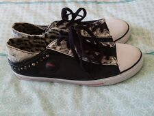 MIMCO Black Animal Print Flats Sneakers Casual Lace Up Shoes Size 39 B8