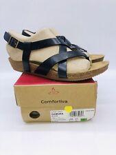 Comfortiva Women's Gamora Strappy Wedge Sandals Black Leather US 9.5W