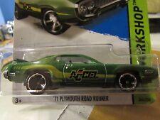 Hot Wheels '71 Plymouth Road Runner HW Workshop Green Accel