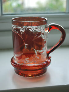 Victorian Red and Clear Glass Tankard - Drinking Glass -  Christening Gift  #210