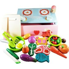 Stove Cooking Toy Sets - Pretend Play Wooden Clean&Safe Kitchenby FAITHMOVEMT