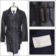 $3K NWT Mens BRIONI Navy Silk Leather Storm System Trench Coat Jacket 50 40 M L