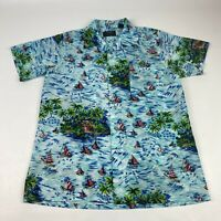 Vintage 70s Bright Colorful Hawaiian Shirt Light Weight Polyester Mens Large