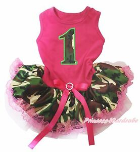 Camo Birthday 1ST Hot Pink Top Camouflage Lace Skirt Pet Dog Puppy Cat Dress Bow