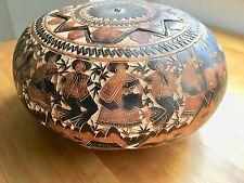 Art Africain Calebasse Sculptée Boite