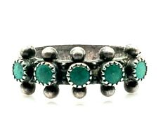 Vintage Navjo Oxidized Sterling 925 Turquoise Spike Abstract Cocktail Ring 7.25