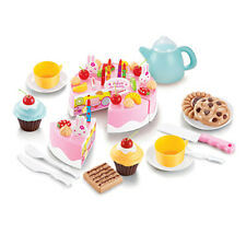 54pcs Pink Birthday Cake Toy Cutting Set Tea Cup Cakes Kids Kitchen Pretend Play