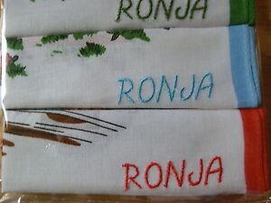 Taschentücher für Kinder 3 x bunt,Monogramm oder Namensbestickung ist inklusive