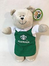 "Starbucks Australia Bearista Plush Bear Green Apron 2015 10"" NWT"