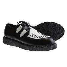 Boots and Braces Creeper New Schwarz Weiß Schuhe Creepers Leder Neu Halbschuhe