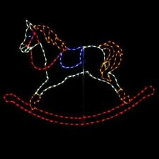 Holiday Christmas Rocking Horse Outdoor LED Lighted Decoration Steel Wireframe