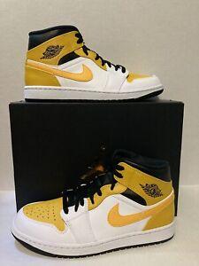 Nike Air Jordan 1 Mid White/University Gold-Black 554724-170 Men's Size 9M