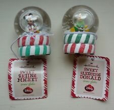 Hallmark Disney lot of 2 snow globes: Sweet Skiing Mickey, Sledding Donald