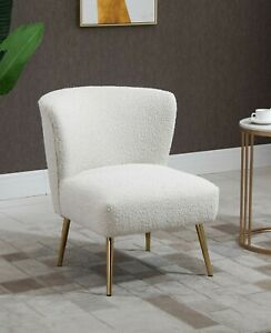 White Boucle Accent Chair Slipper Fabric Chair Lounge Chair Golden Legs