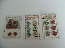 Lot Of 3 Button Cards, 2 Homespun Traditions & 1 Vintage Prevue Movie Buttons