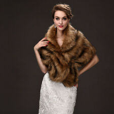 Women's Faux Fur Shawl Wraps Solid Color Winter Bridal Wedding Cover Up