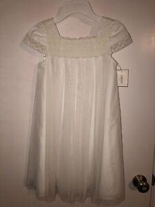 Davids Bridal miniature bride flower girl dress Size 8 WG1359 Ivory Lace Tulle