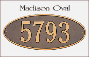 Whitehall Madison Oval Petite Plaque Address Marker Wall Mount & 17 Color Choice