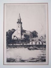 Church in an old town etching by Arthur Wrench