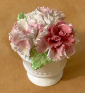 "Royale Stratford Fine Bone China Pink White Flower Basket Mini 2.25"" x 1.75"""