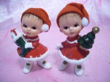 *RARE VTG Napco Christmas Girl Elf Hair Fabric Cap Tree & Stocking Figurine Set