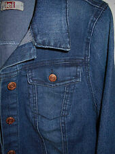 LEI Denim Jean Jacket L Womens 12-14 Distressed Stretch Copper Buttons Blue 6d2