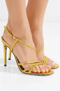GUCCI Sandal Metallic Gold Leather HAINES Strappy Floral Sz 38 NEW