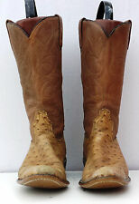 Womens Size 7 C ACME Brown Ostrich Cowboy Western Boots