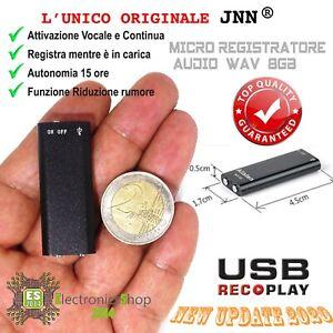 MICRO REGISTRATORE AUDIO ATTIVAZIONE VOCALE 8GB SPY SPIA VOICE RECORDER USB 8 GB