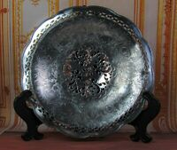 Antique Eureka Silver Co Quadruple Plate Tray Embossed Cracker Plate/Dish/Tray
