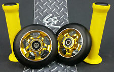 Gold Pro Star Black Metal Core Scooter Wheels x2 + Grips + GK Grip Tape