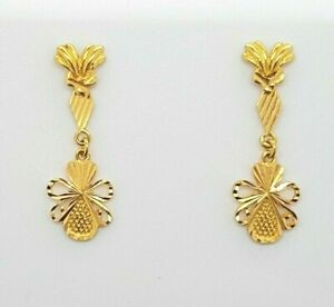 22ct Yellow Gold Drop Earrings Studs with Butterfly Clasp Preloved RRP $680