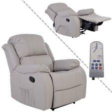 Fernsehsessel Relaxsessel mit Massage und Wärmefunktion aus Kunstleder in grau