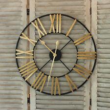 NOIR OR SQUELETTE Horloge murale numéros Romain Horloge rond extérieur jardin