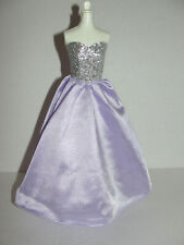 Mattel Barbie Gown Strapless Dress Lavender & Silver Leather Vinyl Top