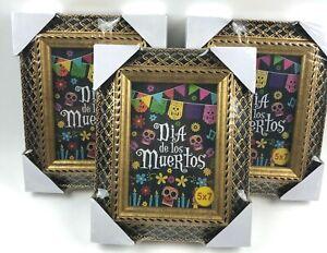 Set of 3 Day of the Dead - Dia de los Muertos Gold Photo Frame 5x7