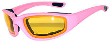 1 Pair Women Pink Biker Motorcycle Padded Glasses Night Driving Yellow lens
