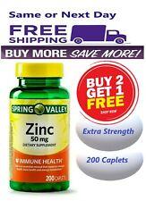 Buy 2  Get 1 Free : Spring Valley Zinc Vitamin 50 mg 200 Caplets Immune Support