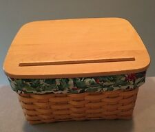 Longaberger 2001 Card Keeper Basket with Lid & Fabric 'Holly' Liner ~Very Good!