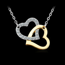 Elegant 18k 18CT 2 Tone Gold Filled GF Heart CZ Pendant Necklace N-A721