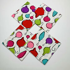 Baublez Christmas Ornaments Holiday Reversible Cotton Dinner Napkins Set of 4