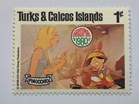 VINTAGE STAMP💎1980💎1 cent Disney Turks and Caicos islands Pinocchio #442-51💎
